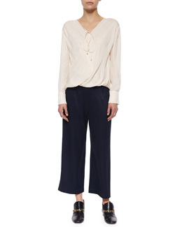 Derek Lam 10 Crosby Draped-Front Silk Top W/ Self-Tie & High-Waist Cropped Trousers W/ Saddle Studs
