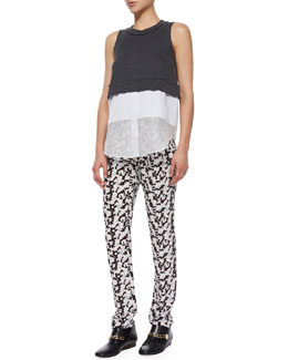 Derek Lam 10 Crosby Sleeveless Jersey Layered Tank & Printed Track Trousers