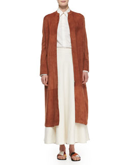 The Row Collarless Suede Long Coat, Long-Sleeve Oversized Button Blouse & Linen Long Circle Skirt