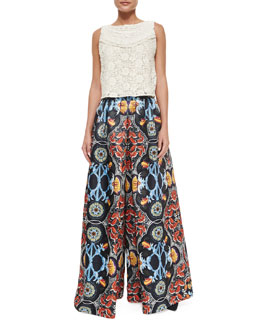 Alice + Olivia Finlay Fitted Sleeveless Crochet Top & Baroque-Print High-Waist Pants