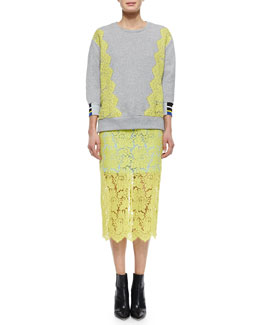 Preen by Thornton Bregazzi Lace-Trimmed Zip-Slit Sweatshirt & Floral Scalloped Lace Pencil Skirt