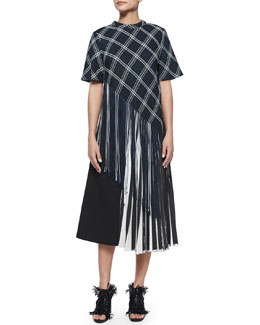Proenza Schouler Plaid Button-Back Asymmetric Fringe Top & Half Knife-Pleated Midi Skirt