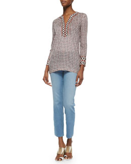 Tory Burch Tory Printed Tunic W/ Contrast Trim & Cropped Straight-Leg Jeans