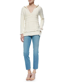 Tory Burch Hooded Baja Cotton Tunic & Cropped Straight-Leg Jeans