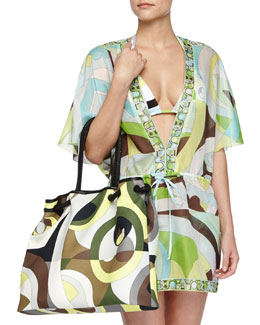 Emilio Pucci Contrast-Trim Printed Voile Coverup & Kaleidoscope-Print Large Canvas Bag