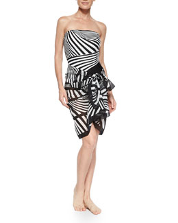 Gottex Illusion Stripe One-Piece Swimsuit & Pareo Coverup
