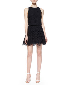 Alice + Olivia Eyelet Crop Top & Pleated Flounce Skirt