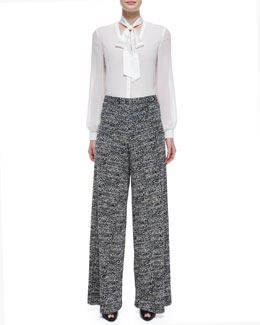 Alice + Olivia Devin Tie-Neck Blouse & Tweed Super-Flared Wide-Leg Pants