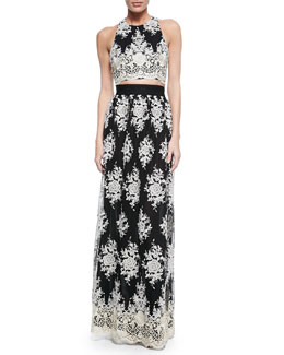 Alice + Olivia Tru Embroidered Sleeveless Crop Top & Brent Embroidered Maxi Skirt