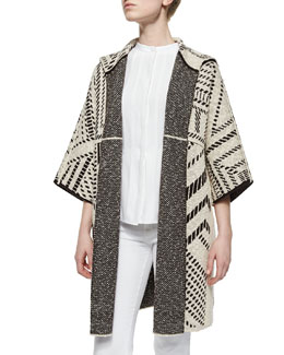 Tory Burch Jacquard Oversized Coat & Sleeveless Pleated-Front Shell