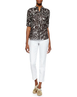 Tory Burch Brigitte Leaf-Print Blouse & Callie Skinny Ankle Pants
