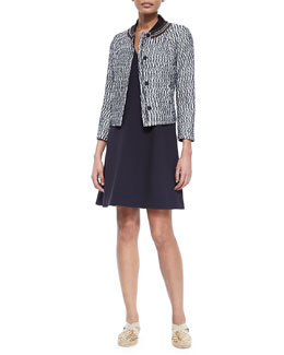 Tory Burch Marbled Tweed Jacket & Sleeveless V-Neck Fit & Flare Dress
