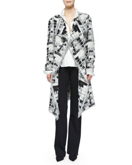 Skylights Jacquard Fringe Topper Coat, Slit-Front Tailored Blouse & High-Waisted Ultra-Stretch Crepe Pants