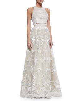 Alice + Olivia Blythe Embroidered Sleeveless Crop Top & Carter Flared Embroidered Ball Skirt