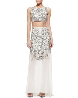 Alice + Olivia Ezra Sequined Beaded Crop Top & Rizo Flowy Sequined Illusion Hem Skirt