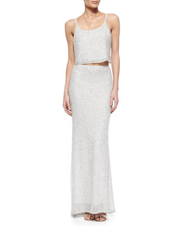 Alice + Olivia Dallas Sleeveless Sequined Tank & Ashton Sequined Skirt with Fishtail