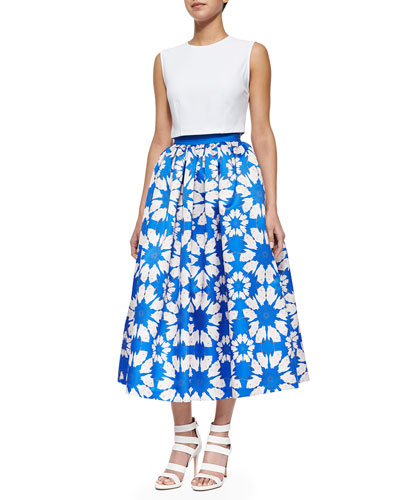 Klynn Sleeveless Crop Tee & Molina Floral-Print Ball Tea-Length Skirt