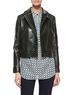 Tory Burch Asymmetric-Zip Leather Jacket & Brigitte Geometric-Print Tunic