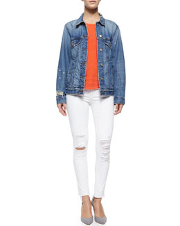 J Brand Jeans Darci Distressed Denim Jacket, Candice Rib-Knit Tank & Low-Rise Skinny Crop Jeans