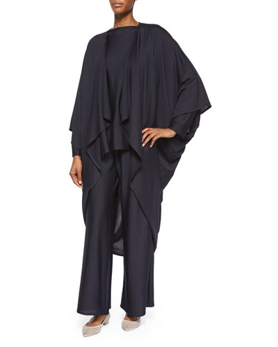 Open-Front Draped Cocoon Coat, Bateau-Neck Slim-Sleeve Kaftan & Mid-Rise Flare-Leg Trousers