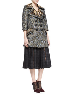 Marc Jacobs Leopard-Print Trimmed Double-Breasted Coat & Plaid-Print Dotted Tulle-Inset Skirt