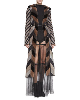 Marc Jacobs Chevron-Striped Reversible Mink Fur Coat, Backward Crewneck Cashmere-Blend Sweater, Crystal-Detailed Sheer Tiered Skirt &  Striped Woven High-Waisted Boyshorts