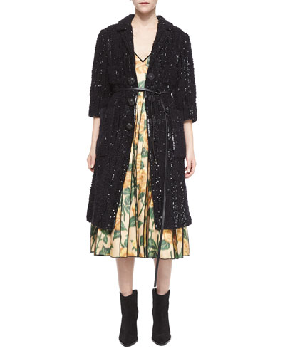 Allover Sequined Four-Pocket Coat & Floral-Print Pleated Midi Dress
