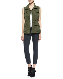 J Brand Jeans Arden Sleeveless Military Jacket & Suvi Skinny Button-Cuff Utility Pants