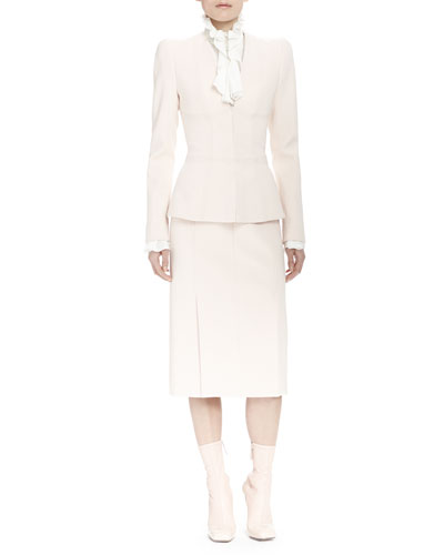 Seam-Detailed Fitted Jacket, Long-Sleeve Ruffle-Front Blouse & Front-Seamed Pleated Pencil Skirt