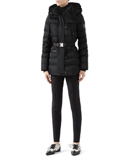 Gucci Black Down Jacket With Beaver Fur Trim, Cashmere Turtleneck Sweater & Soft Stretch Cotton Legging