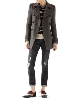 Gucci Felted Bonded Herringbone Peacoat, Wool-Mohair Embroidered Jacquard Sweater & Stone Washed Stretch Ripped Denim Pant