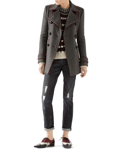 Felted Bonded Herringbone Peacoat, Wool-Mohair Embroidered Jacquard Sweater & Stone Washed Stretch Ripped Denim Pant