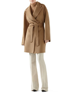 Gucci Double Wool Wrap Coat, Oversized Cashmere Turtleneck Sweater & Wool Flannel Skinny Flare Pant