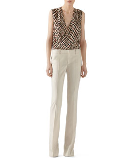 Gucci Double Net Print Silk Shirt & Wool Flannel Skinny Flare Pant