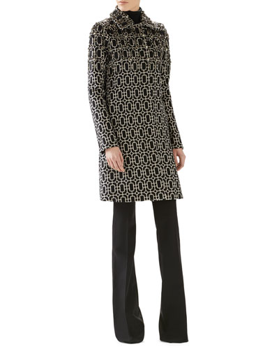 Octagonal Jacquard Wool Embroidered Coat, Cashmere Turtleneck Sweater & Wool Skinny Flare Pant
