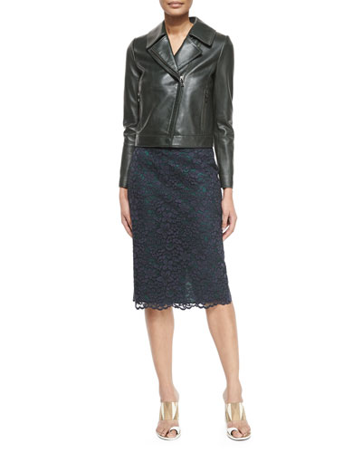 Asymmetric-Zip Leather Jacket & Floral-Lace Pencil Skirt