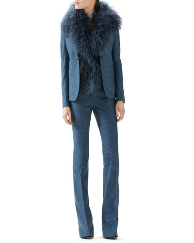 Mongolian Lamb Vest, Wool Flannel Single-Breasted Blazer & Wool Flannel Skinny Flare Pant