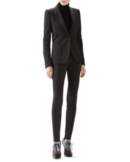 Gucci Wool Flannel Single-Breasted Blazer, Cashmere Turtleneck Sweater & Soft Stretch Wool Legging