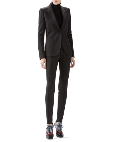 Wool Flannel Single-Breasted Blazer, Cashmere Turtleneck Sweater & Soft Stretch Wool Legging