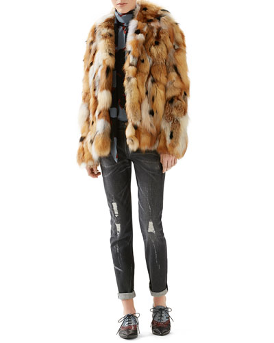 Patchwork Fox Fur Jacket, Leaves Print Silk Shirt & Stone Washed Stretch Ripped Denim Pant