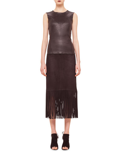 Paneled Leather-Front Tank Top & Long-Fringe Trimmed Suede Pencil Skirt