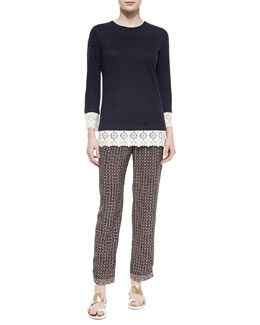 Tory Burch Jewel-Neck Lace-Trim Tunic & Brent Pleated-Front Cropped Pants
