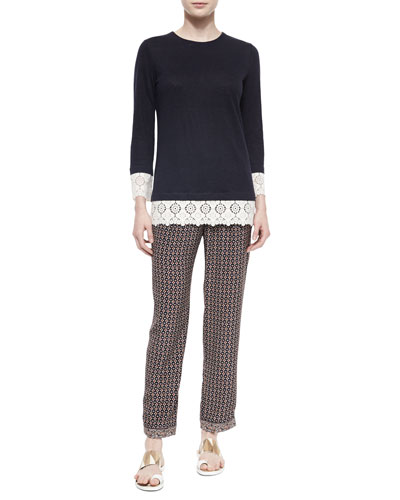 Jewel-Neck Lace-Trim Tunic & Brent Pleated-Front Cropped Pants