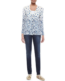 Tory Burch Printed V-Neck Button-Front Cardigan & Skinny Basic Low-Rise Jeans