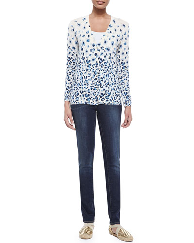 Printed V-Neck Button-Front Cardigan & Skinny Basic Low-Rise Jeans