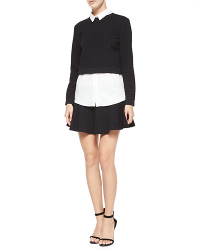 Faux-Layered Check-Embossed Sweater Top & Drop-Waist Flared Mini Skirt