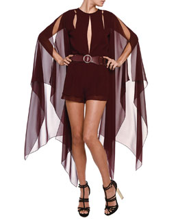 Emilio Pucci Slit-Back Hanging-Sleeve Short Jumpsuit & Wide Scalloped Leather Belt