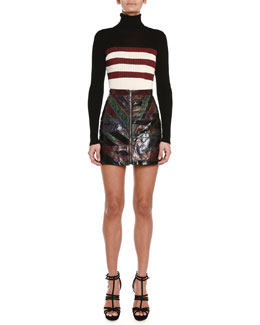 Emilio Pucci Colorblock Triple-Striped Turtleneck Sweater & Python Patched-Stripe Mini Skirt