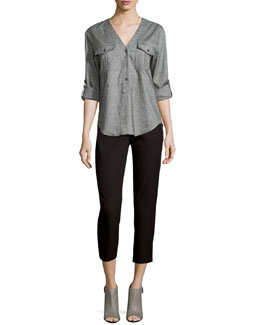Trisalta Sharkskin Button Top & Thaniel Approach Cropped Slim Pants
