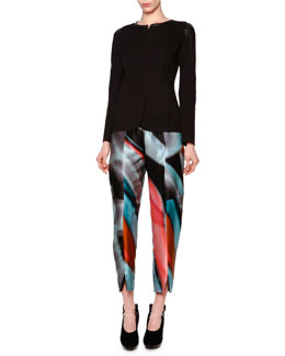 Giorgio Armani Leather-Inset Pique Knit Jacket & Chagall Printed Silk High-Waist Trousers